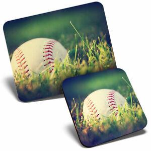 Mouse Mat & Coaster Set - Baseball Field America Ball Game  #14201