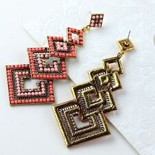 Pink Long Fashion Crystal Chandelier Earrings Retro Luxury Square Shape Womens