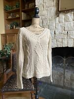 Oatmeal Beige Wool Cashmere Fishermen Sweater Angora Cable Knit Vintage M