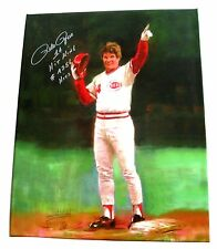 PETE ROSE HAND SIGNED 16X20 CANVAS PRINT WITH PROOF