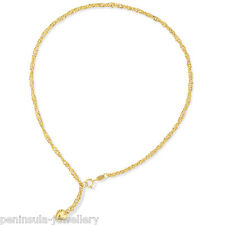 "9ct Gold Singapore 10"" Anklet Ankle Chain with Heart Gift Boxed"