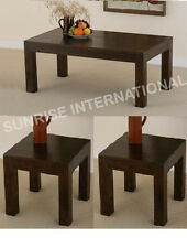 Contemporary wooden center / coffee table with 2 side tables (set of 3)