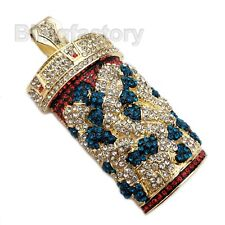 Pill Bottle Bling Large Charm Pendant Hip Hop Iced Lab Diamond Gold Plated