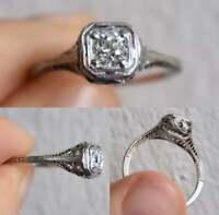 Art Deco Engagement Ring Antique Edwardian 14k White Gold Over 2Ct Round Diamond
