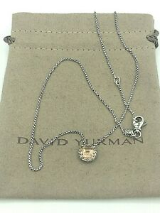 """DAVID YURMAN Chatelaine Pendant Necklace with Morganite & Sterling Silver 17-18"""""""