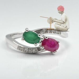 925 Sterling Silver Natural Oval Cut Ruby Emerald Gemstone Ring Jewelry