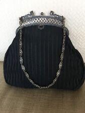 GRACE ANN AGOSTINO Handmade Black Fabric Handbag Vintage Silver Tone Deco Frame