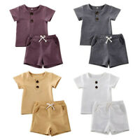 Summer Infant Toddler Baby Boys Solid T-Shirt Tops+Shorts Ouftits Clothes Sets