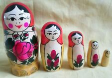 "Russian Semenov Nesting Doll Set/5-pieces/Hand Crafted/4.5"" Tall/Free Ship In Us"