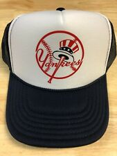 New York Yankees Navy/White Baseball Foam Mesh SnapBack Trucker Hat Vintage Logo