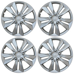 "4 pc Set Hub Cap ABS Silver 16"" Inch Rim Wheel Cover Replica Hubcaps Covers Caps"