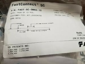AFL-FAST-CONNECTOR-FAST-SC-SMAU-60-SingleMode-0-9mm-0-25mm Lot of 60