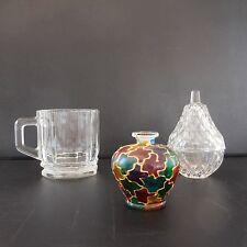 Composition art-déco art nouveau 3 pièces en verre