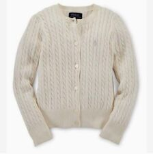 NWT Ralph Lauren Girls Cream Cable Knit Cardigan Sweater Size 4 $45.00