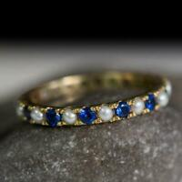 1CT Round Cut Pearl 14k Yellow Gold Over Blue Sapphire Womens Eternity Band Ring