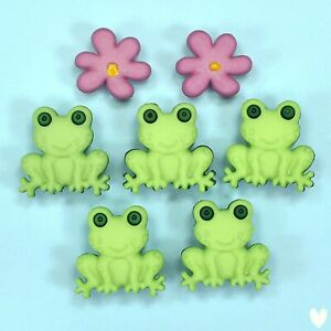 Buttons Galore Happy Frogs Flowers Garden Spring Easter Dress it Up