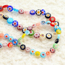 10p Mixed Italian Style Murano Glass Spacer Loose Flat beads Charm Findings 8mm
