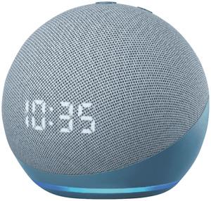 NEW Amazon B085M6675T Echo Dot Clock & Alexa (Gen 4) - Blue