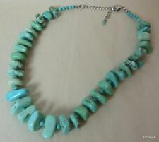 "Bold Chunky Turquoise Necklace Graduated 17"" with Extender"