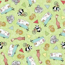 Bazooples Campout Toss Animal Campers Green 100% cotton fabric by the yard
