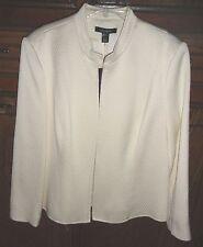 NWT Louben white lined jacket pique-style fabric. sz 12--Retail $285.00--2/3 OFF