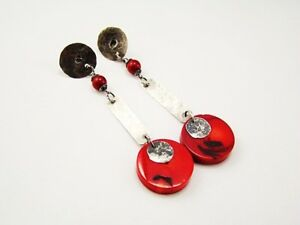 Beautiful 925 Silver Earring With Red Coral hand made In Gift Box