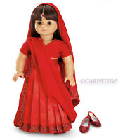 """Doll Clothes 18"""" Skirt Top Indian Sari Red Shoes Jewel Fits AG Girl Dolls"""