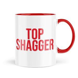Funny Mugs   Top Shagger Mug   Couples Novelty Joke Rude Red Handle   MBH1244