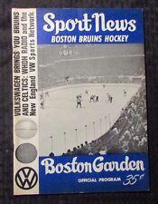 1966 SPORT NEWS Boston Bruins Hockey Magazine VG+ 4.5 Boston Garden Program