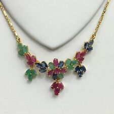 14k Solid Gold Flower Cluster Pendant Necklace/ Chain, Mix Ruby Sapphire Emerald