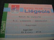 TICKET RC LIEGEOIS - ANDERLECHT  15/01/1994