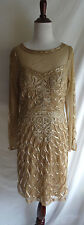 NWT Sue Wong Size 8 Gold Ribbon Embroidered Formal Bridesmaid Dress Evening Gown