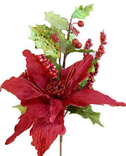 Poinsettia Pick Christmas Ornament Decoration Wreath Tree Red Lime Green Floral