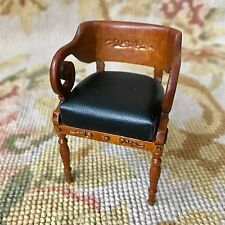 Bespaq Bluette Meloney Dollhouse Furniture Chair Black Faux Leather 2584