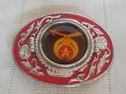 Vintage Shriner's silver tone & red belt buckle