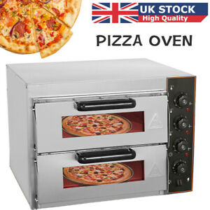 3000W Electric Pizza Oven Twin Double Deck Commercial Fire Stone Baking Oven UK