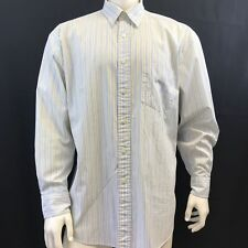Nautica Mens Business Casual Shirt Cotton Point Collar Long Sleeve White Stripes
