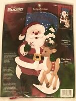 Bucilla Plaid Felt Stocking #84844 Santa and Reindeer from 2002 New