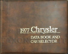 1977 Chrysler Data Book Dealer Album Imperial New Yorker Newport Facts Features