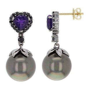 14k Yellow & Black Gold 1.80ctw Black Diamond Amethyst & 13.00mm Pearl Earrings