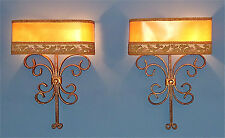 PAIR FRENCH GILT FORGED IRON WALL LAMPS ART DECO 40 50´s jean royere poillerat