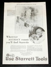 1928 OLD MAGAZINE PRINT AD, STARRETT TOOLS FOR ACCURACY, HOOKER TELESCOPE ART!