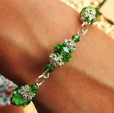 N / FLOWER BRACELET KIT  PERIDOT CRYSTAL RONDELLE BEADS  SILVER JEWELLERY MAKING