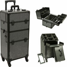 Professional Makeup Rolling Hair Stylist Case 4 Wheel 2 in 1 Organizer Trolley