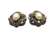 Judith Jack Pierced Earrings Faux Pearl Crystal Sterling Silver Marcasite 70gg
