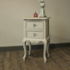 Elise Grey 2 Drawer Bedside Table French Grey Bedroom Crystal Handle Knobs Home