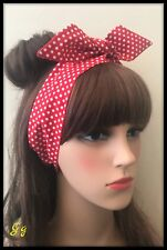 Red White Polka Dot Spot Spotty Headband Bandana Head scarf Hair Tie Band Fabric