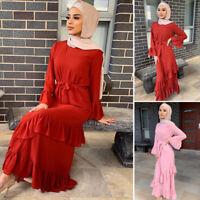 Pleated Abaya Women Muslim Robe Maxi Dress Jilbab Kaftan Cocktail Party Dresses