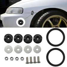 Black Quick Release Bumper Fender Trunk Fastener Screw Bolt Loop Ring Kit -UK