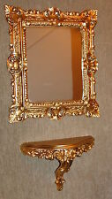 Set Wall Mirror + Console Mirror Table Ablagetelefon Baroque Antique Gold 44x38